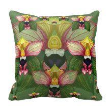 Epipactis helleborine throw pillows