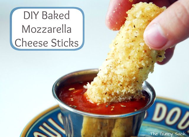Easy Baked Mozzarella Cheese Sticks Recipe that is perfect for an after school snack or party appetizer. It's also a great game day recipe!