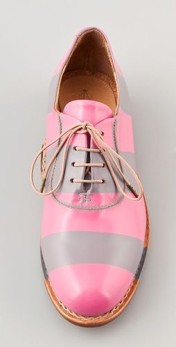 #Pink striped oxfords shoes