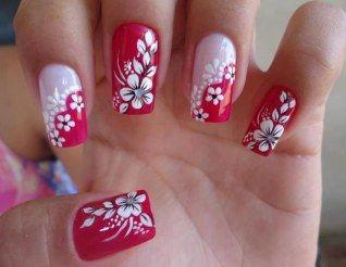 Detalhes: mezzo vermelho, mezzo nude   flores   Unhas decoradas 2016