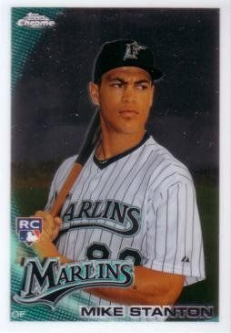 2010 Topps Chrome Giancarlo (Mike) Stanton Rookie Card by Topps Chrome. $4.95. 2010 Topps Chrome Baseball #190 Giancarlo (formerly Mike) Stanton Rookie Card. Marlins outfielder. Near Mint to Mint condition. Comes in a plastic top loader for its protection.