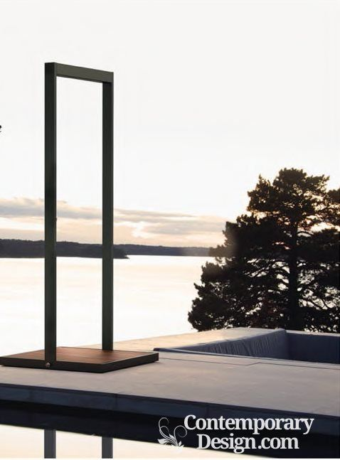 Outdoor bathing. Bathing in the sunshine is an indulgent, atmospheric experience whether you choose a refreshing shower or a relaxing dip in a hot tub. Swedish brand Roshults' sleek outdoor model is a striking metal structure that comes with a slatted teak shower tray and a rainfall-effect shower.