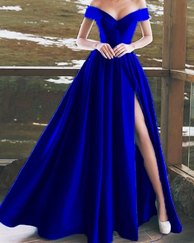 Elegant V-neck Off The Shoulder Long Satin Prom Dresses – Mirnesa Isakovic