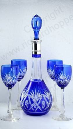 VINTAGE GLASS: DRINK SETS; DECANTERS, GLASSES, BARWARE. c.1920 VAL ST. SAINT-LAMBERT LUBIN BLUE OVERLAY CRYSTAL WINE SET. To visit my website click here: http://www.richardhoppe.co.uk or for help or information email us here: info@richardhoppe.co.uk