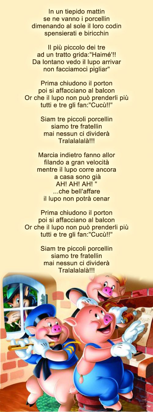 Three Little Pigs... In Italian. Click on link and the web page has the music to this.. cute..