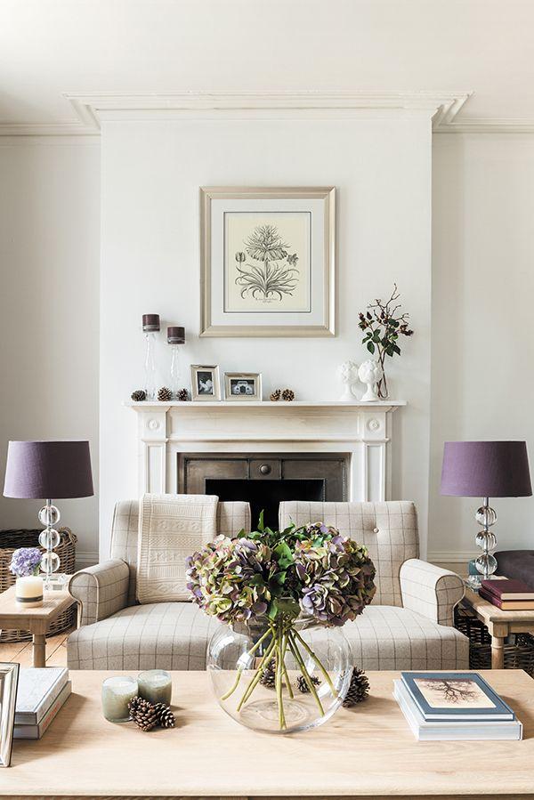 Purple Hydrangea Bouquet with Damson Lucile Lamp Shades #neptune #damson #interiordesign www.neptune.com