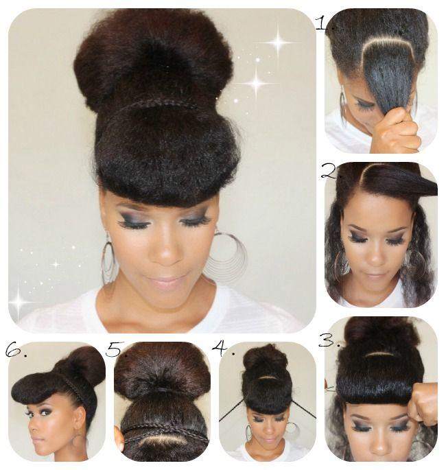 Natural Hair Tutorial High Bun W Accent Braids
