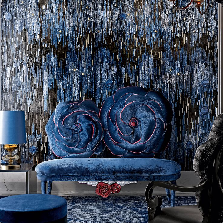 Soft and precious as roses, our Moi et la Rose couch in artistic mosaic and blue velvet is the most elegant reproduction of nature