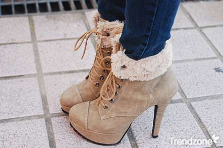 Tan, fur lined cuff booties