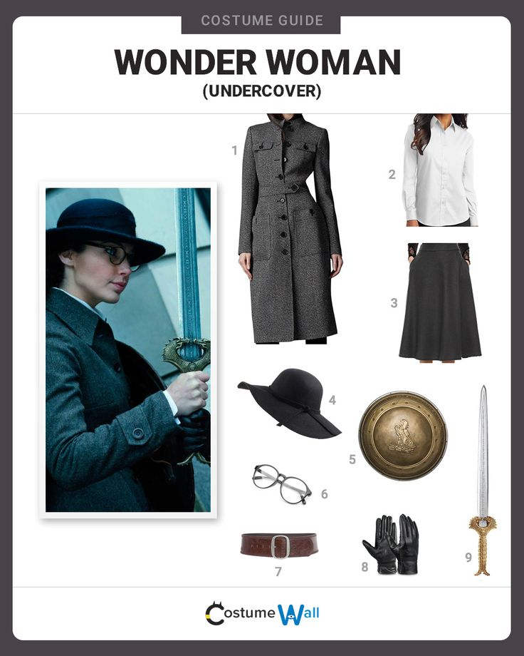 Get the undercover look of Wonder Woman, who dresses in a more conservative outfit in the 2017 movie, Wonder Woman.
