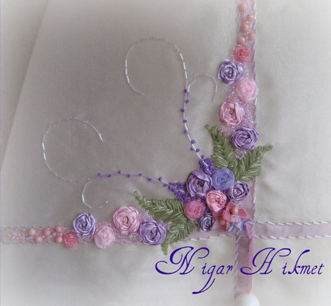Love the pretty ribbonwork flowers and beadwork on tablecloth! :)