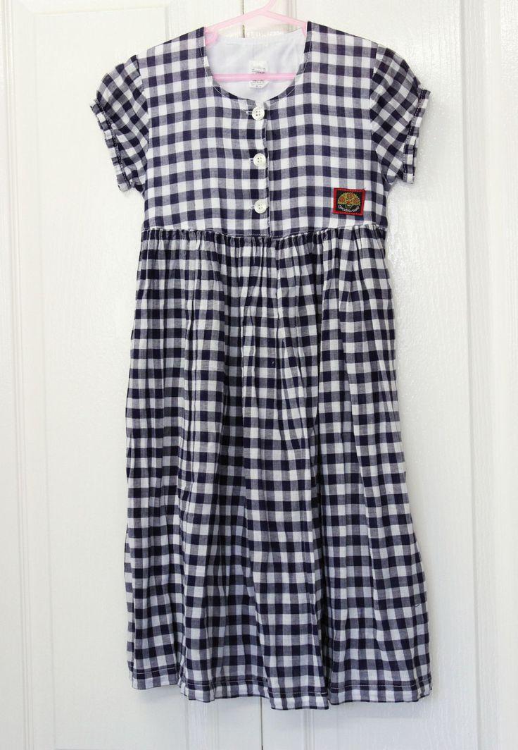 Size 4 Girls Navy White Check Plaid Summer Cotton Dress Vintage by KittysVintageKitsch on Etsy