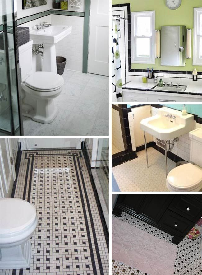 Black and white tile bathrooms done 6 different ways retro - 10 Best Images About Bathroom Stuff On Pinterest