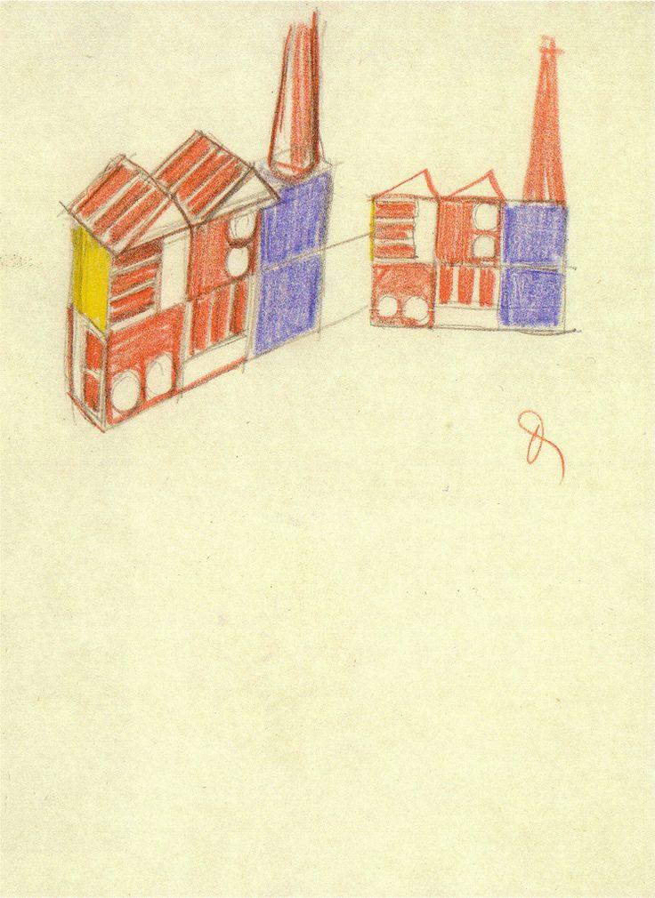 Kit sketches, Build the Town building block set by Ladislav Sutnar. Czechoslovakia. 1942-3