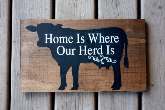 Home is where our herd is, farm sign Farm sign decor, cow farmer, dairy, beef, home is where our herd is, hand painted art, On the farm word art, Rustic decor, farm house style Approximate Size: 9.5 x16 Signs are made on 3\4 pineboard The sign is all hand painted, no vinyl, & sealed with a matte sealer. Back has a saw tooth hanger for easy hanging. Please allow 2-3 weeks for completion of orders , plus shipping time. Let me know if a rush orders needed. Visit my little shop to view...