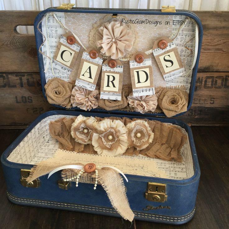 Wedding Card Box Gift Table: Vintage Suitcase Wedding Card Holder Rustic Wedding Gift