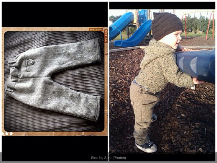 These wee pants I refashioned from a woman's woollen skirt! They turned out so fab.. Little man wore them to death!