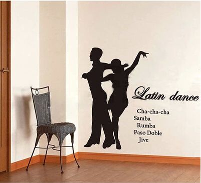 Pas DE deux international dance Latin dance Protect the school classroom dance studio decorative laminated glass wall stickers(China (Mainland))
