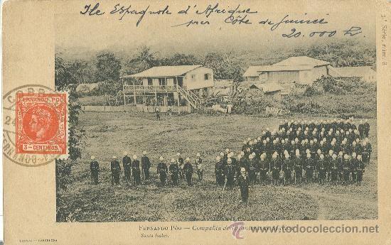 GUINEA. ISLA DE FERNANDO POO. COMPAÑIA MILITAR DE INFANTERIA DE MARINA. CIRCULADA EN 1905.