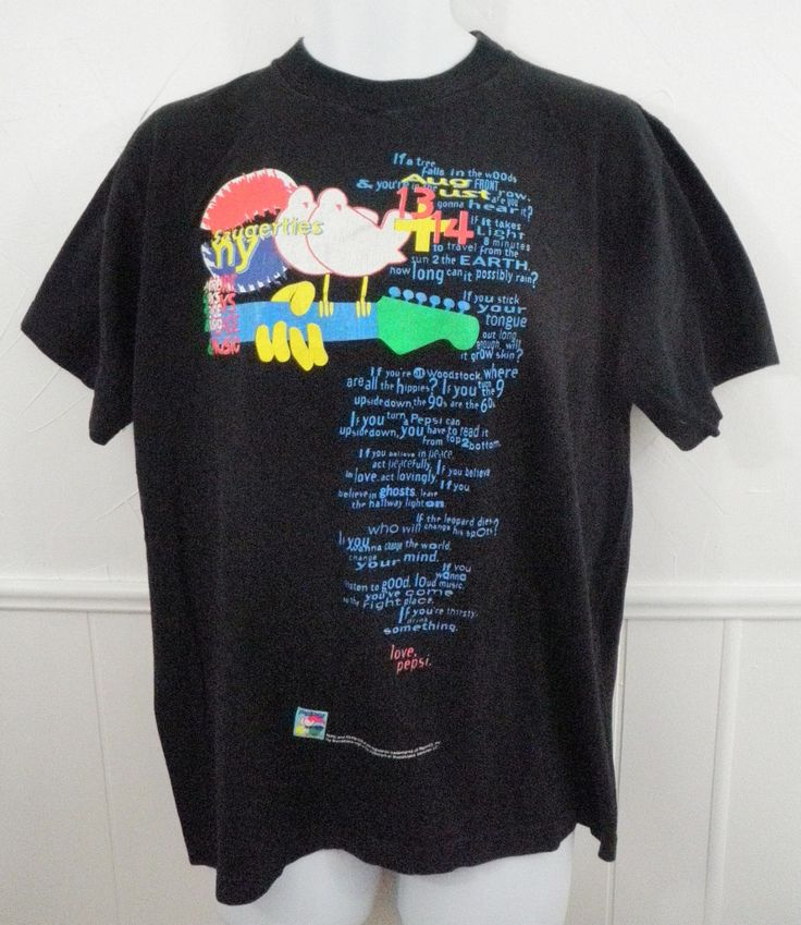 1994 Woodstock Concert Festival T-Shirt Tee Men's Large Black Saugerties NY Pepsi Mudstock Music Festival by TraSheeWomen on Etsy #woodstock #mudstock #1994 #saugerties #redhotchilipeppers #allmanbrothers #bobdylan #aliceinchains