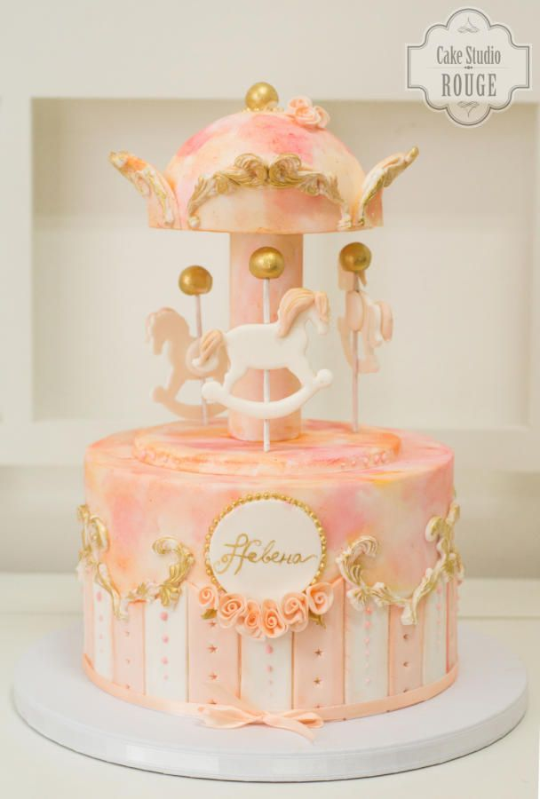 Peach and blush carousel cake by Ceca79