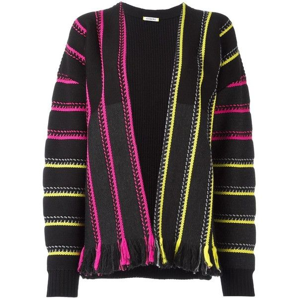 Iceberg striped cardigan (455,720 KRW) ❤ liked on Polyvore featuring tops, cardigans, black, patterned tops, patterned cardigans, stripe top, print cardigan and stripe cardigan
