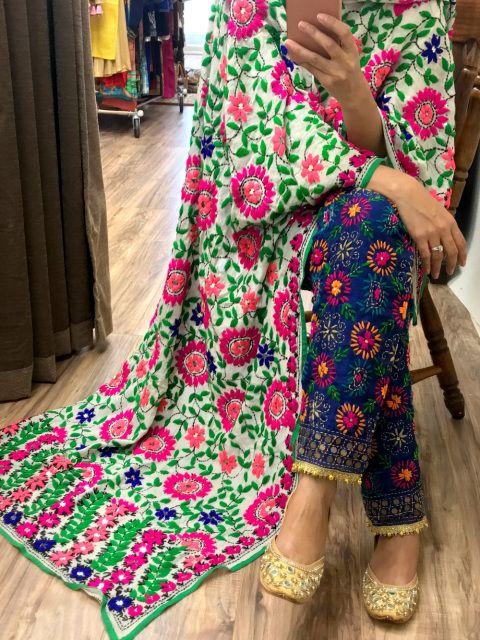 Phulkari Pants, Phulkari Salwar, Fulkari Pants, Phulkari palazzo, parsi work pants, kantha work pants, embroidered pants, colorful pants, gifts, women pants, girls pants, trendy pants, stylish pants, hot pants, one of kind pants, straight pants, cigarette pants, palazzo pants, kurti pants, pants with kurti, chikankari kurti pants