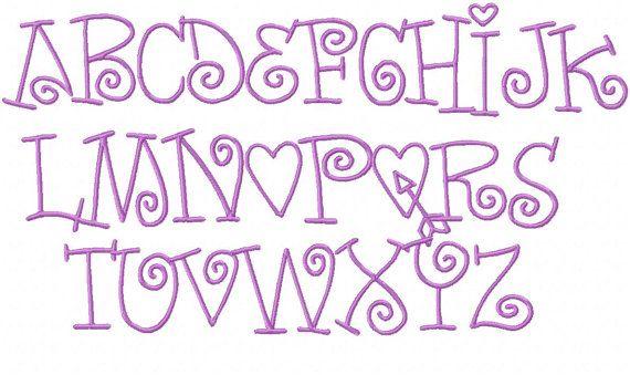 Modern Curl Embroidery Font Heart Alphabet by HerringtonDesign, $1.50