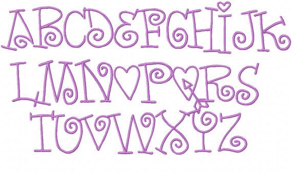 Monogram Font Modern Curl Embroidery Font by HerringtonDesign