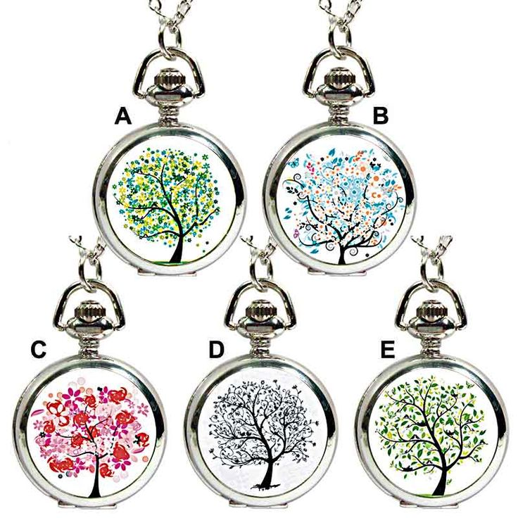 Ask Alice Tree of Life Fob Watch Pendant Necklace