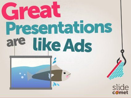 I do not agree with the concept that 'great presentations are like ads' as people do not want to be sold to - but the images in this slide deck are good in terms of telling a story