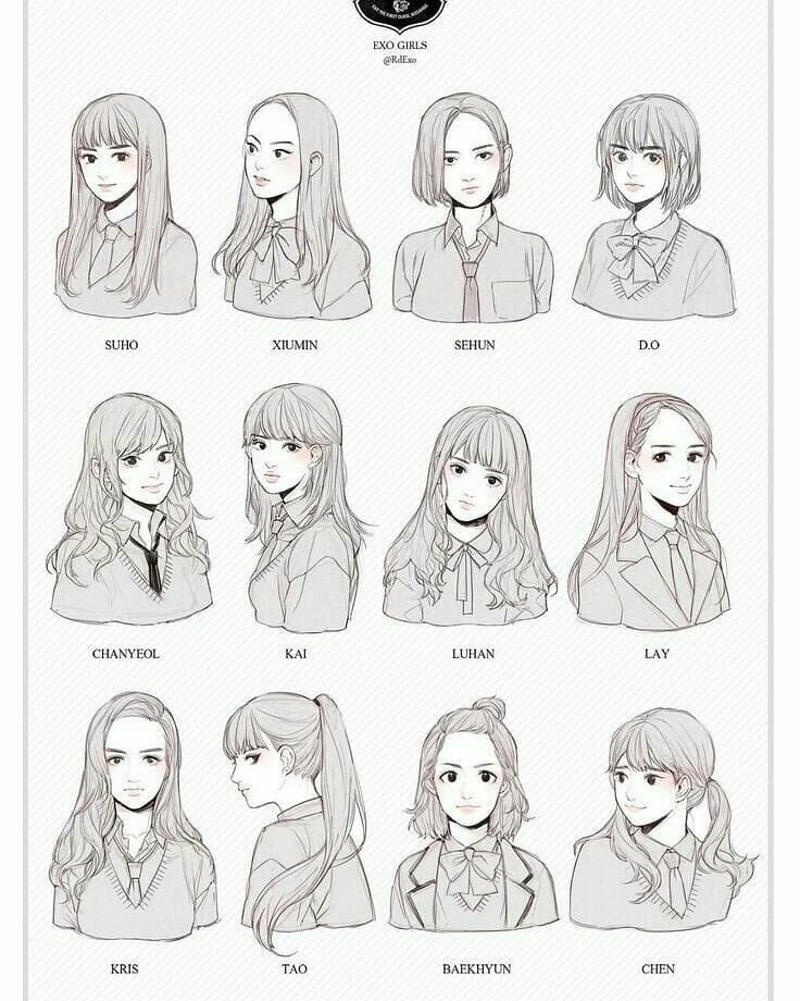 Pin oleh Lin Rue di EXO (Dengan gambar) Rambut manga