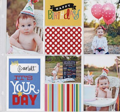 POCKET PAGES Birthday Scrapbook Layout.  'Happy Birthday- It's Your Day'