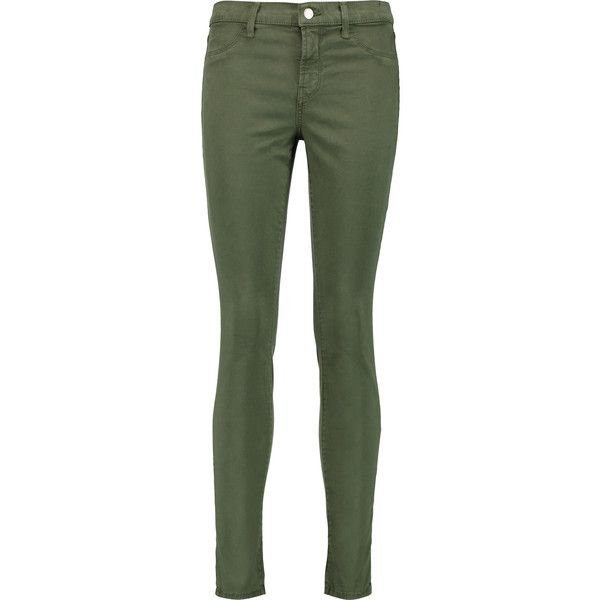 J Brand Mid-rise skinny jeans ($110) ❤ liked on Polyvore featuring jeans, pants, army green, olive green jeans, army green jeans, button-fly jeans, mid-rise jeans and mid rise skinny jeans