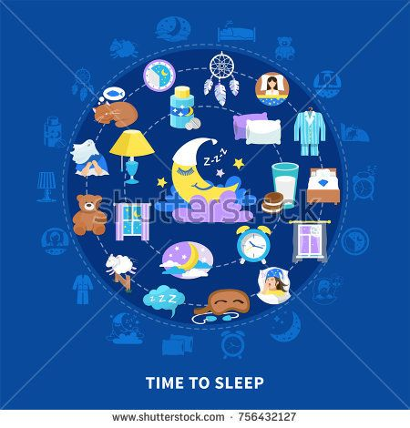 Stock Vector: Time to sleep traditional symbols flat circle composition poster with fairy tale crescent teddy bear vector illustration