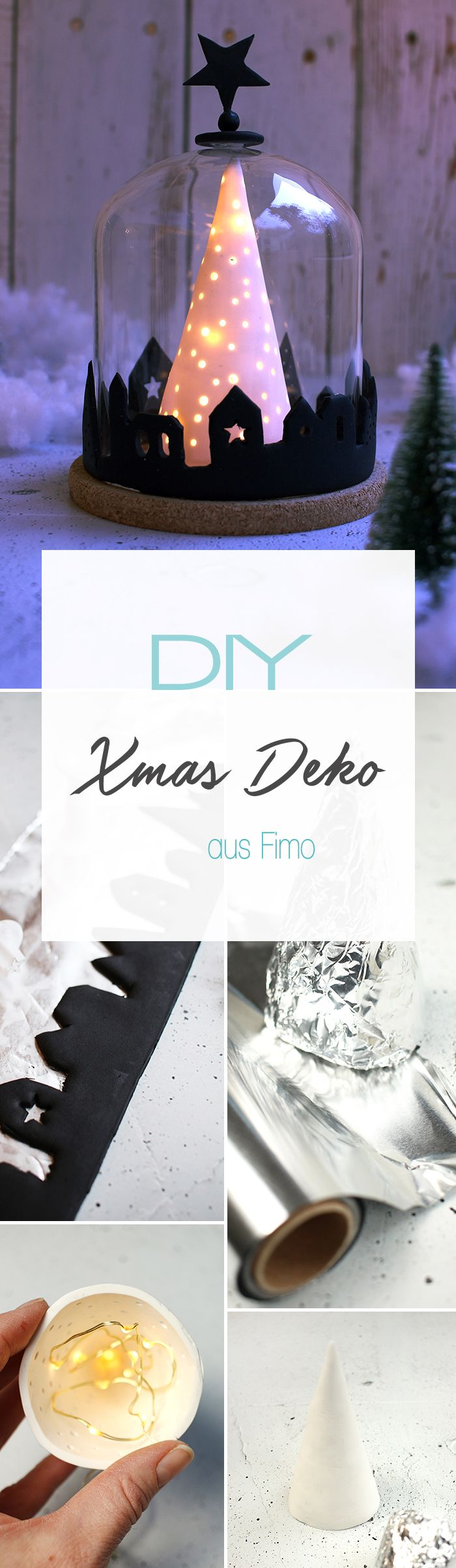 Dani von DIY Blog Gingered Things zeigt dir wie du aus Fimo und einer Glasglocke eine weihnachtliche Deko mit Beleuchtung selbst basteln kannst.