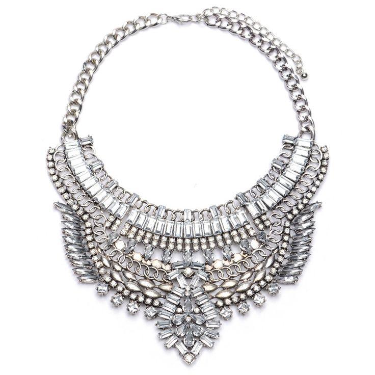Chunky Crystal Silver Chain Pendant Bib Collar Necklace