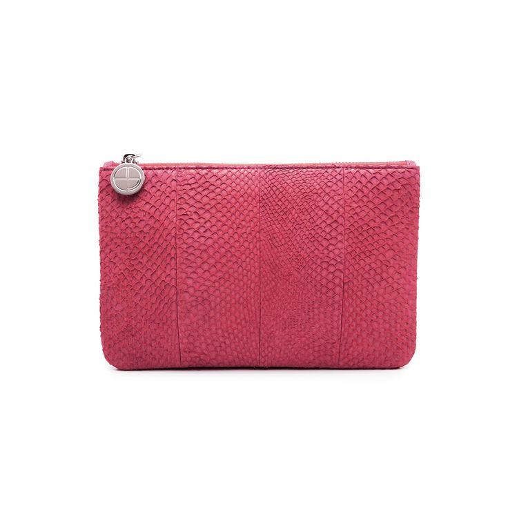 Midnight pink Inger salmon leather shoulder bag clutch 2499