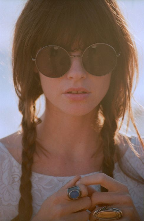 braids, lace, and round sunglasses. great music festival look. indie, boho, hair, coachella