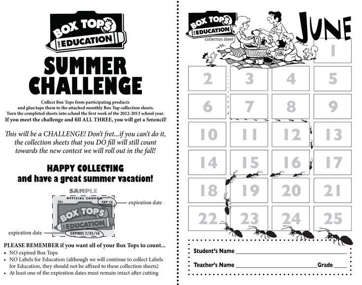 Great summer collection sheet!   Box Tops For Education