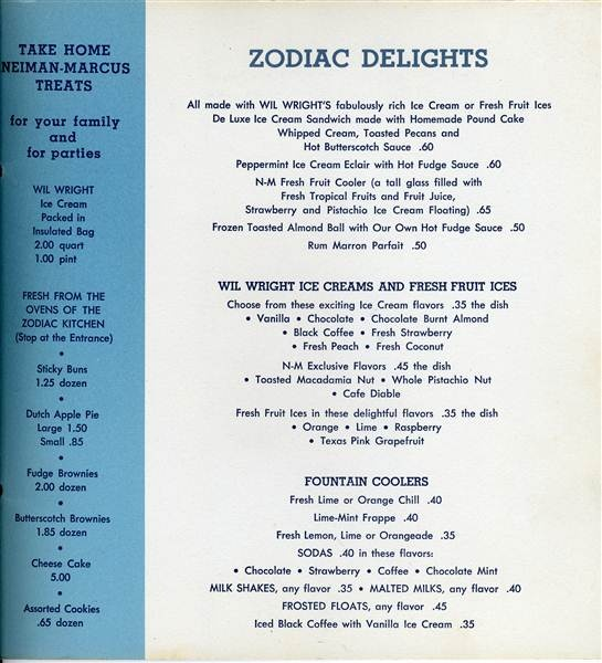 Zodiac Restaurant Dallas Menu