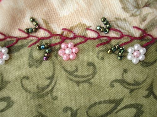 Crazy Patch Seam Treatment - Feather stitch with beaded flowers by Happy 2 Sew, via Flickr