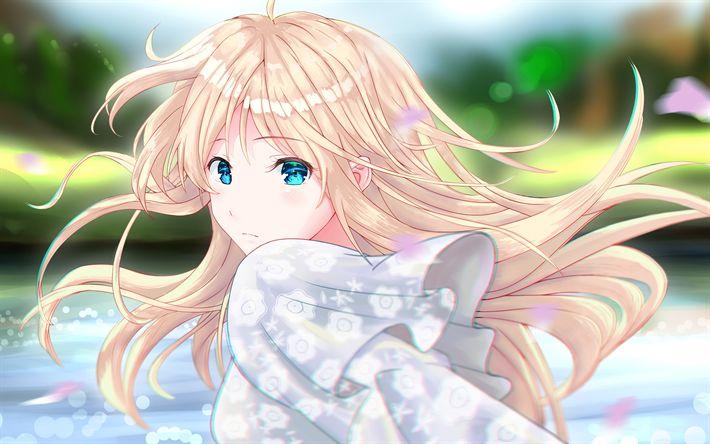 Télécharger fonds d'écran Violet Evergarden, 4k, le personnage principal, le manga, les yeux bleus