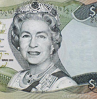 BAHAMAS - 2001: England Queen Elizabeth II on 1/2 dollar 2001 Bahamas banknote.