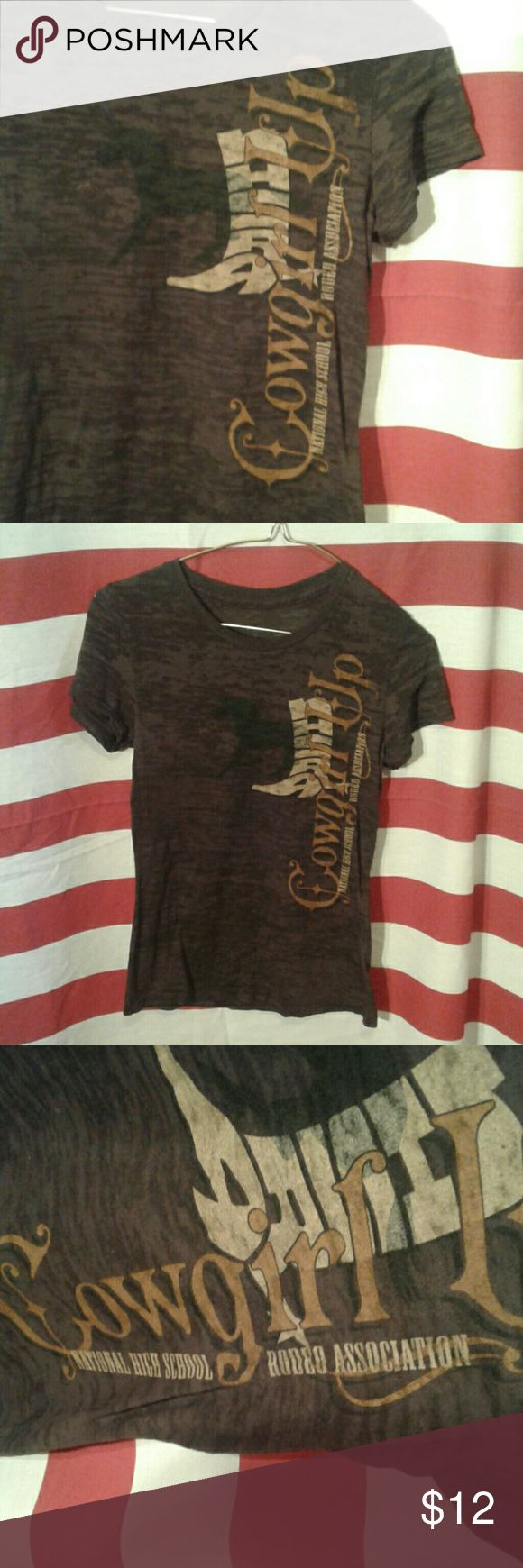 """National High School Rodeo Cowgirl Up Western Tee Juniors size small burnout tee from Cowgirl Up. Screen printed running horse, cowboy boots, and the words """"Cowgirl Up"""". Show your support for the National High School Rodeo Association. Bundle your likes and I will send you a discounted offer! 😄 Cowgirl Up Tops Tees - Short Sleeve"""