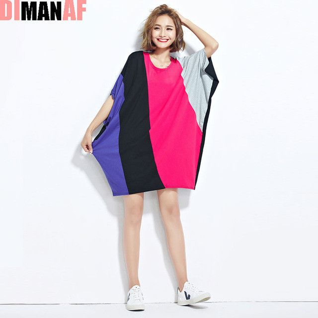 DIMANAF Women Summer T-Shirt Plus Size Batwing Sleeve Patchwork Colour Cotton Female Casual Fashion Large Size O-Neck Fat Tops