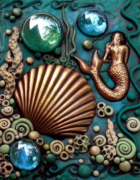 ACEO Mermaid and Scallop Shell Polymer clay by MandarinMoon