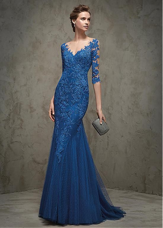 Buy discount Graceful Dot Tulle & Tulle V-neck Neckline Mermaid Evening Dresses with Lace Appliques at Dressilyme.com