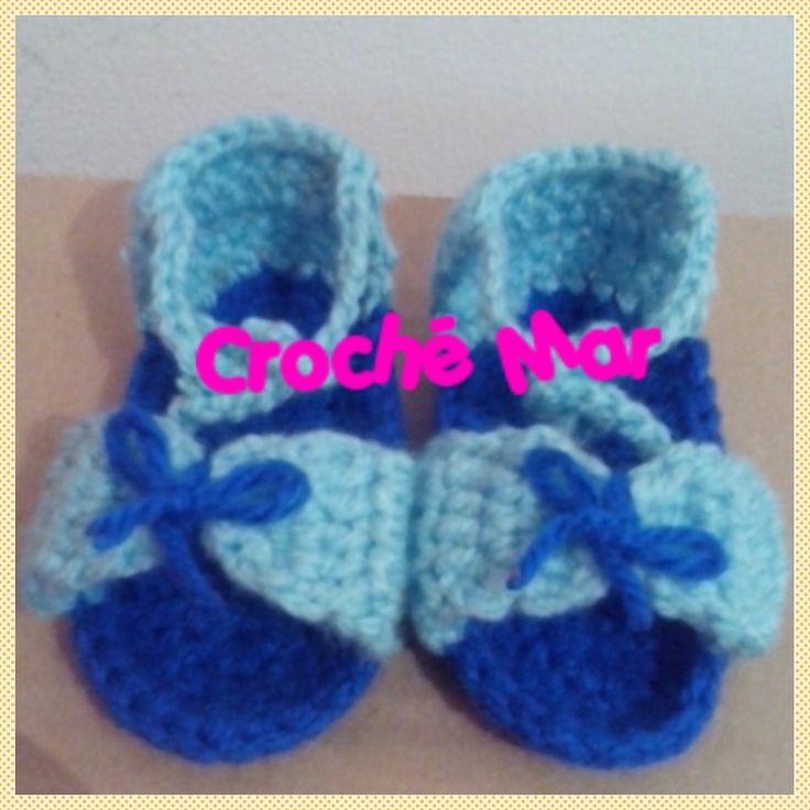 Sandalias azules con moño por Croche Mar