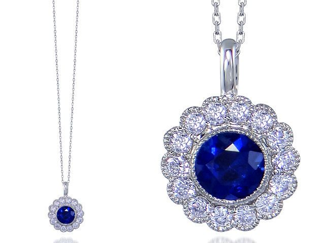 Stunning Sapphire & Diamond 18ct Hallmarked White Gold Pendant by StartJewellery on Etsy